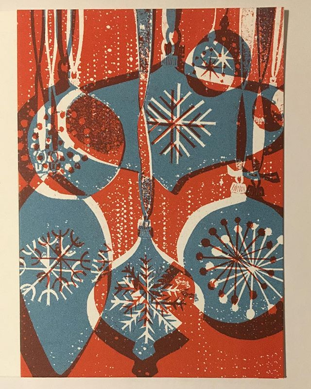 Christmas card screen printed and ready to go.  @andylovellprintmaker   #printmaking #surfacepatterndesign #screenprinting #handmadechristmascards #midcenturymodern