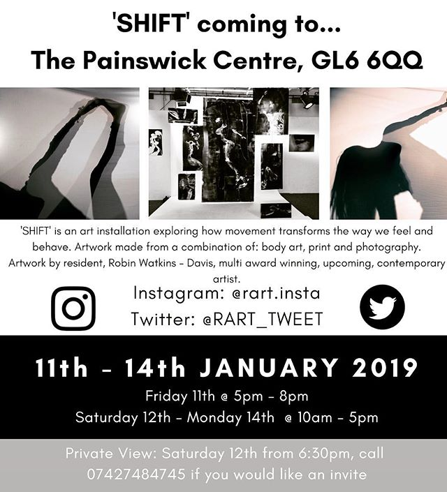 SHIFT is an art installation by @rart.insta which opens at The Painswick Centre this evening and a private view tomorrow (see poster) . It is Robin's first independent show and shows a real passion for originality and self expression. All welcome.  #contemporaryart #bodyart #printmaking