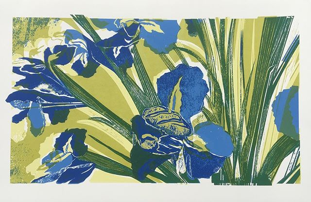 Irises #screenprint from my original black and white card cut. Hoping to get more prints done for the #japonisme show @gpc_print beginning of March.  #surfacepatterndesign #surfacedesign