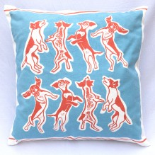 blue and red laughing dogs cushion