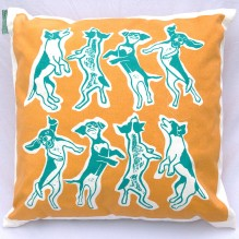 orange and blue laughing dogs cushion